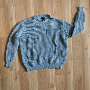 Grey Distressed Holed Sweater